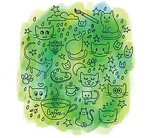 Cute Doodle Cats & Coffee Illustration Photographic Print