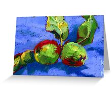 Apples on a blue tablecloth Greeting Card