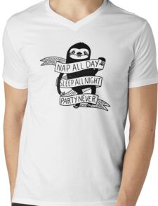 Nap All Day Party Never Mens V-Neck T-Shirt