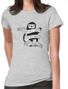 Nap All Day Party Never Womens Fitted T-Shirt