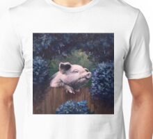 Pig of Wild Abandon. Original painting, 4x 4 in., 10x10 cm Unisex T-Shirt