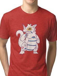 Rhydon Popmuerto   Pokemon & Day of The Dead Mashup Tri-blend T-Shirt