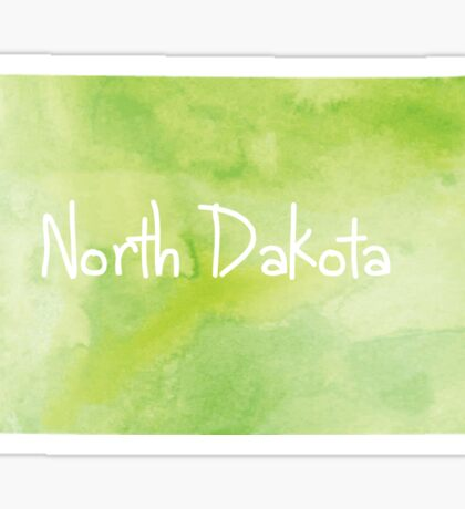 Green Watercolor North Dakota Sticker