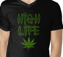 High Life Weed/Cannabis/Ganja Art Mens V-Neck T-Shirt