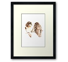 Sparrows Brown Watercolor Prints Animal Home Decor Paintings Framed Print