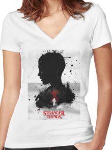 STRANGER THINGS Merchandise Women's Fitted V-Neck T-Shirt