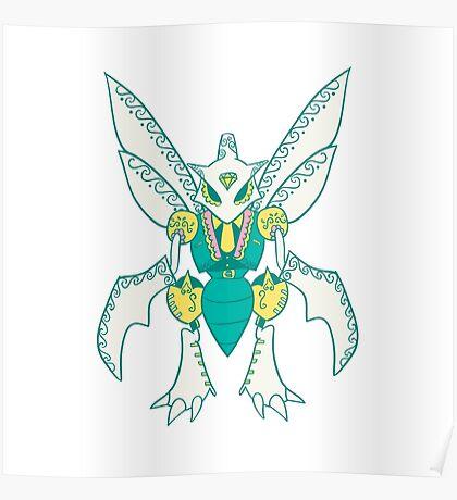 Scyther Popmuerto | Pokemon & Day of The Dead Mashup Poster