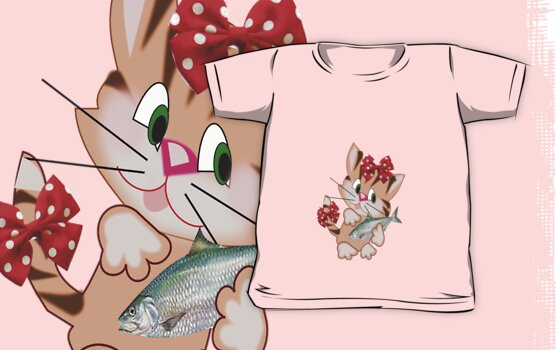 Kitty with Fish T shirt  , Tote bag and pillow (3871 Views) by aldona