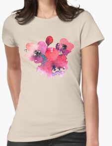 Coral Pink Purple Watercolor Flowers Womens Fitted T-Shirt