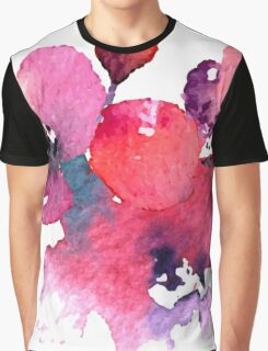 Coral Pink Purple Watercolor Flowers Graphic T-Shirt