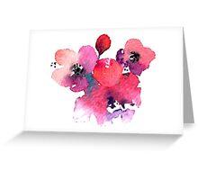 Coral Pink Purple Watercolor Flowers Greeting Card