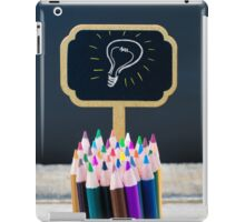 Wooden mini blackboard label with light bulb as idea  iPad Case/Skin