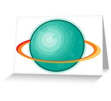 Green Gas Planet with Ring Greeting Card