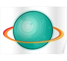 Green Gas Planet with Ring Poster