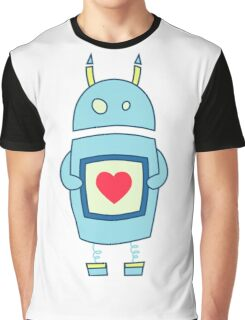 Clumsy Cute Robot With Heart Graphic T-Shirt