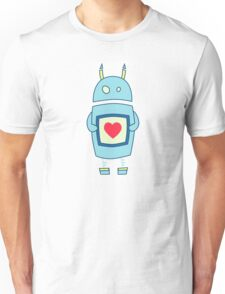 Clumsy Cute Robot With Heart Unisex T-Shirt