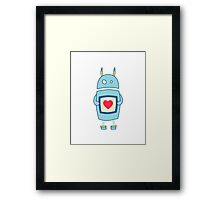 Clumsy Cute Robot With Heart Framed Print