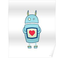 Clumsy Cute Robot With Heart Poster