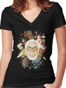 Miyazaki-san Women's Fitted V-Neck T-Shirt