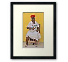 Cuban Woman with Fan  Framed Print