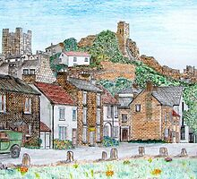 Graphite and Coloured Pencil Drawing of  Richmond, Yorkshire, England by Dennis Melling