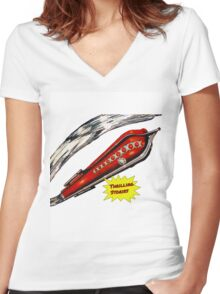 Thrilling Stories - Retro Space Rocket Women's Fitted V-Neck T-Shirt