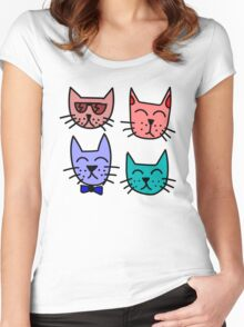 Cartoon Cat Faces Women's Fitted Scoop T-Shirt