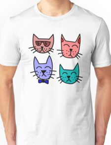 Cartoon Cat Faces Unisex T-Shirt