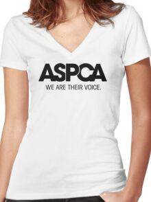 aspca funny tee Women's Fitted V-Neck T-Shirt