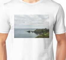 Little Red Sailboat Approaching Dunnottar Castle Scotland  Unisex T-Shirt