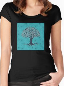 Mandala yoga tree of life blue one Women's Fitted Scoop T-Shirt