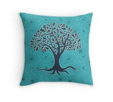 Mandala yoga tree of life blue one Throw Pillow