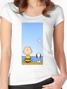 Snoopy and Charlie Brown Women's Fitted Scoop T-Shirt