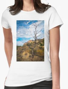 Barren tree and mountain Womens Fitted T-Shirt