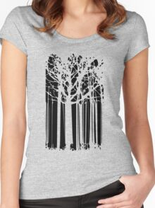 Magic abstract forest black and white art Women's Fitted Scoop T-Shirt