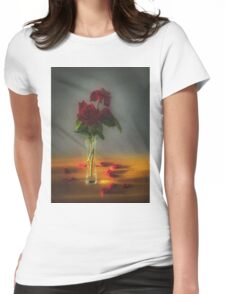 Red roses say love Womens Fitted T-Shirt