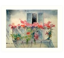 Flowers in the Balcony Art Print