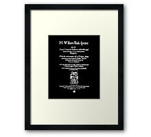 Shakespeare King Lear Frontpiece - Simple White Version Framed Print