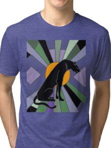 Artsy Cool Panther Cat Art Deco Tri-blend T-Shirt