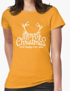 Merry Christmas Happy New Year Womens Fitted T-Shirt