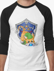 Orange Cat Link Eats Navi Men's Baseball ¾ T-Shirt