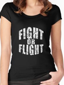 Fight Or Flight Cool Motive Inspirational Design Women's Fitted Scoop T-Shirt