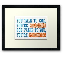 Dr House Tv Serie Famous Popular Quotes Religion Psycho Cool Hugh Laurie Framed Print