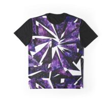 Watercolor Violet Nebula In Triangles Graphic T-Shirt
