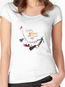 Never Grow Up Nebula Galaxy  Women's Fitted Scoop T-Shirt
