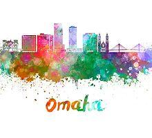 Omaha V2  skyline in watercolor  by paulrommer