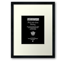 Shakespeare Much Ado About Nothing Frontpiece - Simple White Version Framed Print