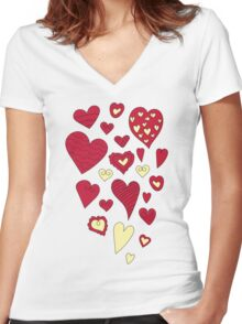 The pattern in the heart. Valentine's Day Women's Fitted V-Neck T-Shirt