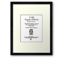 Shakespeare Othello Frontpiece - Simple Black Version Framed Print