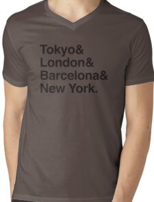 TOKYO & LONDON & BARCELONA & NEW YORK. Mens V-Neck T-Shirt